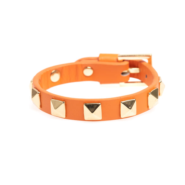 LEATHER STUD BRACELET ORANGE