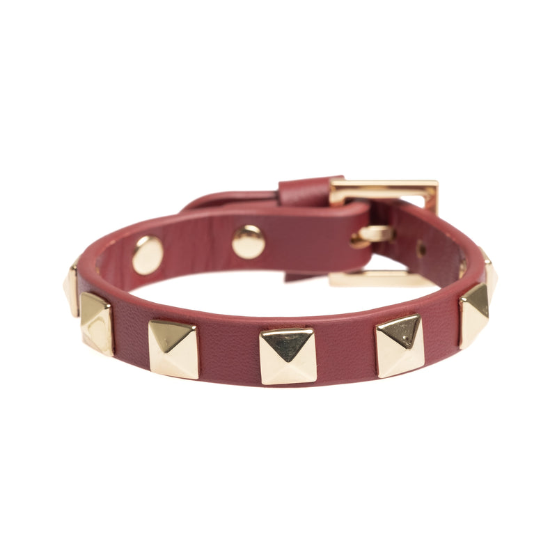 LEATHER STUD BRACELET OX RED