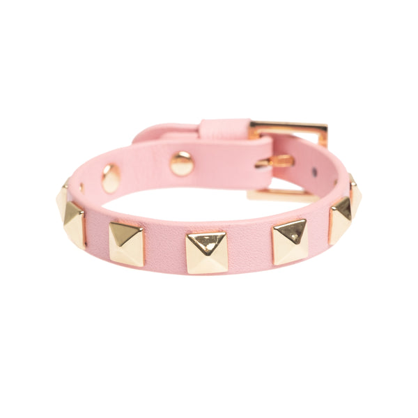 LEATHER STUD BRACELET PALE PINK
