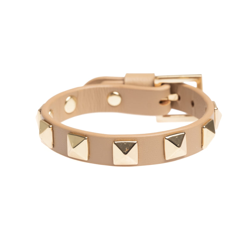 LEATHER STUD BRACELET CAMEL