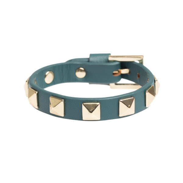 LEATHER STUD BRACELET TEAL