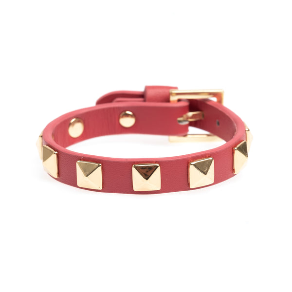 LEATHER STUD BRACELET TERRACOTTA