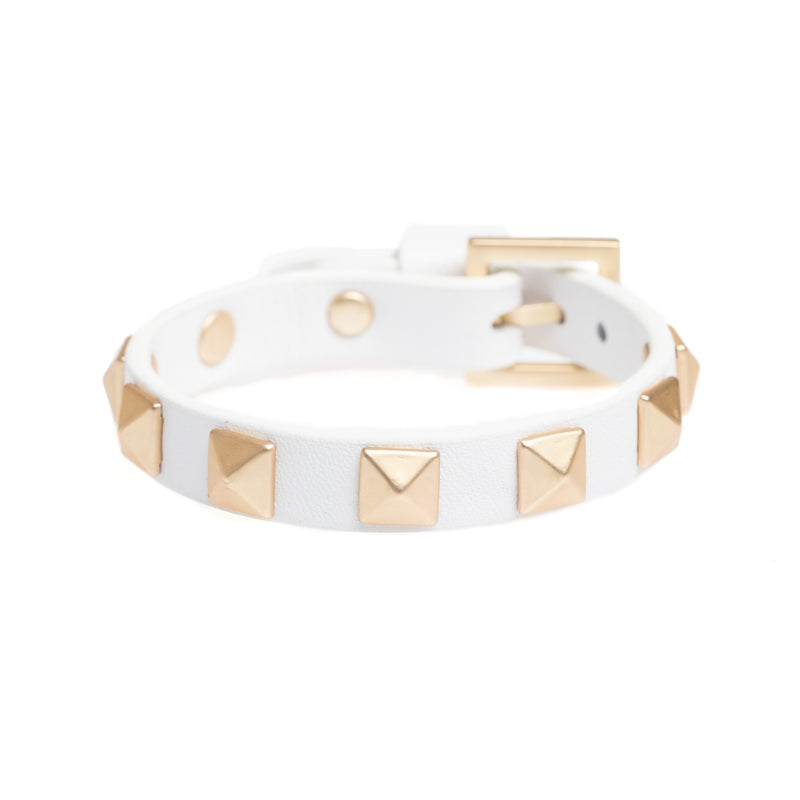 LEATHER STUD BRACELET WHITE W/ MATTE GOLD