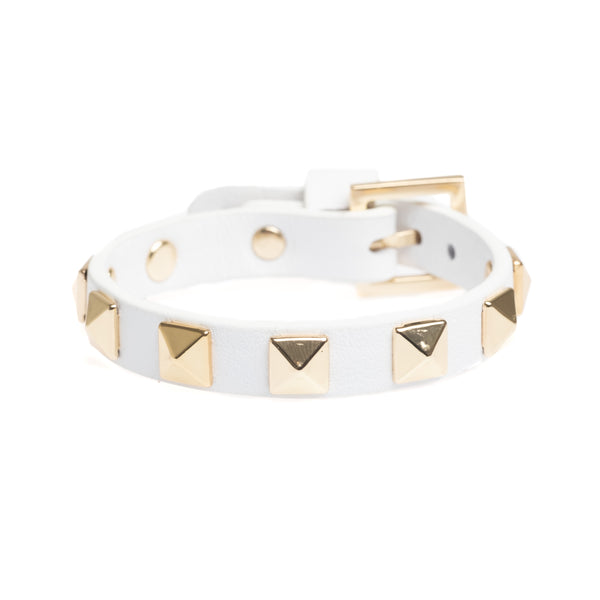 LEATHER STUD BRACELET WHITE W/GOLD