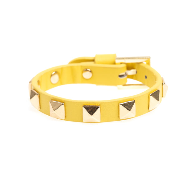 LEATHER STUD BRACELET YELLOW