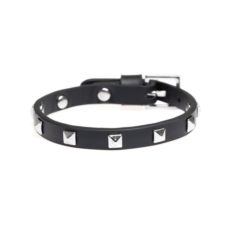 LEATHER STUD BRACELET MINI BLACK W/ SILVER