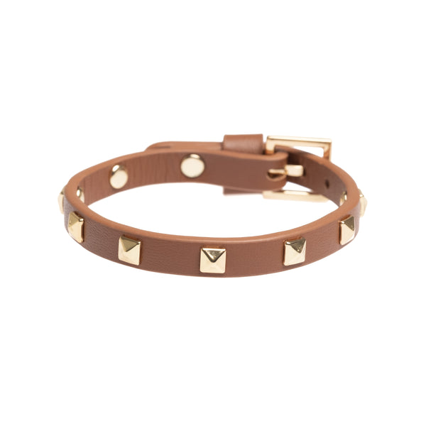 LEATHER STUD BRACELET MINI COGNAC