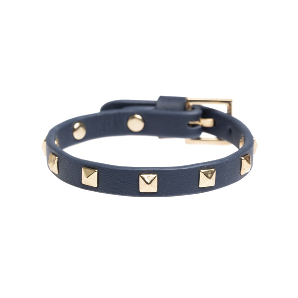 LEATHER STUD BRACELET MINI NAVY BLUE