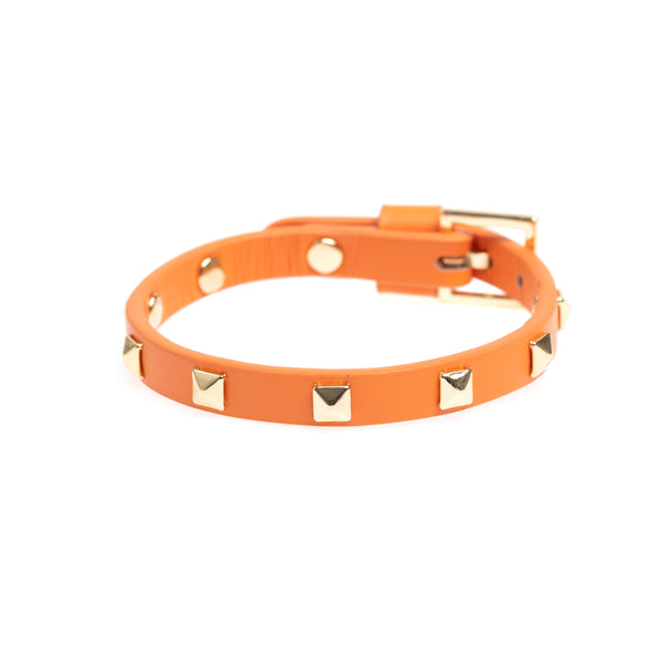 LEATHER STUD BRACELET MINI ORANGE