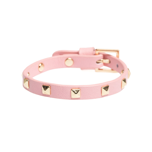 LEATHER STUD BRACELET MINI PALE PINK