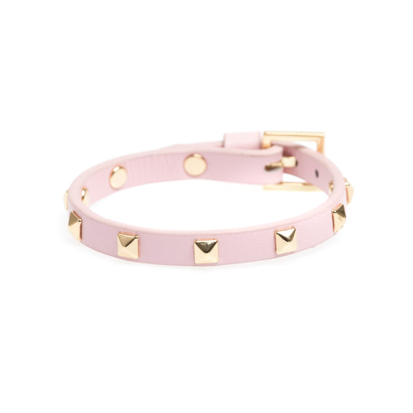 LEATHER STUD BRACELET MINI PALE ROSE