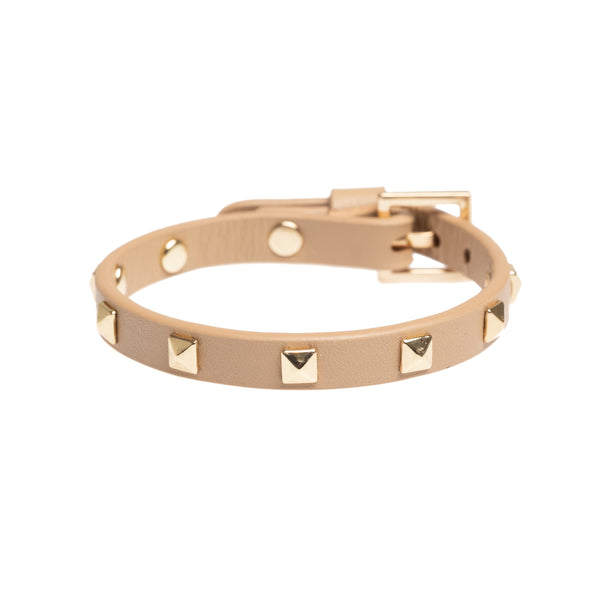 LEATHER STUD BRACELET MINI CAMEL