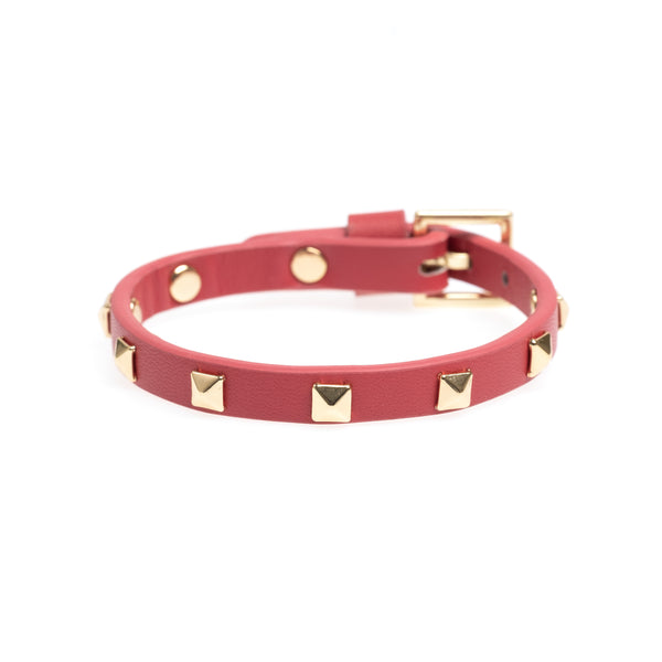 LEATHER STUD BRACELET MINI TERRACOTTA