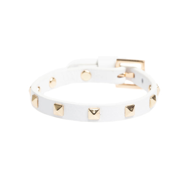 LEATHER STUD BRACELET MINI WHITE