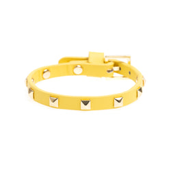 LEATHER STUD BRACELET MINI YELLOW