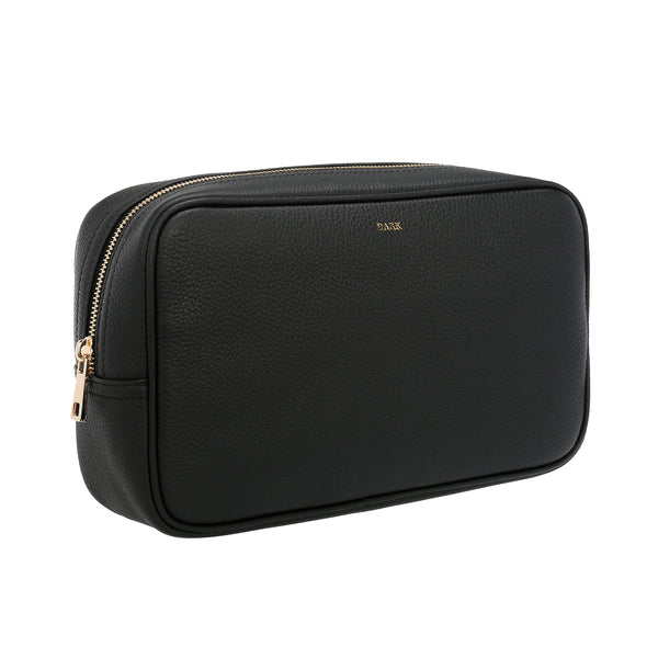 LEATHER TOILETRY BAG LARGE BLACK W/GOLD