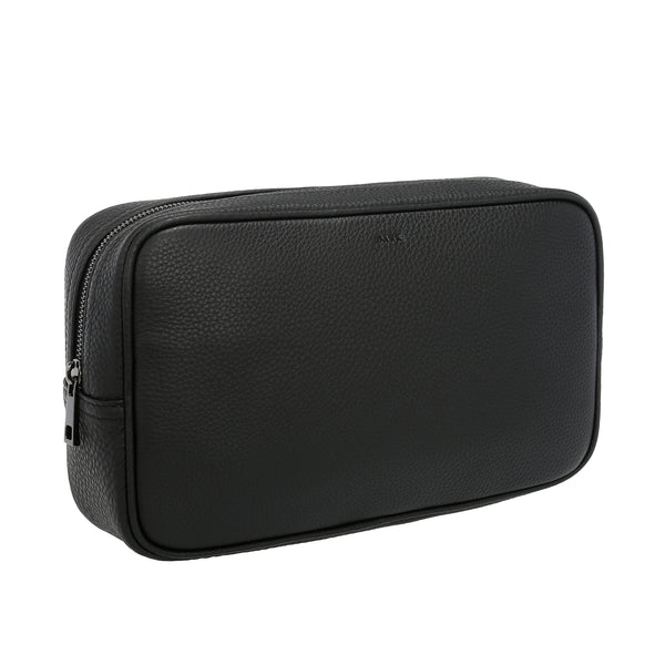 LEATHER TOILETRY BAG LARGE BLACK W/GUN