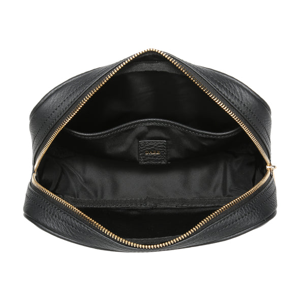 LEATHER TOILETRY BAG SMALL BLACK W/GOLD