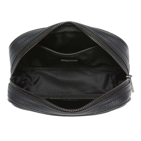 LEATHER TOILETRY BAG SMALL BLACK W/GUN