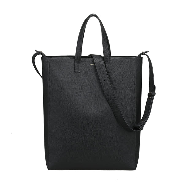 LEATHER TOTE GRAIN BLACK W/GOLD