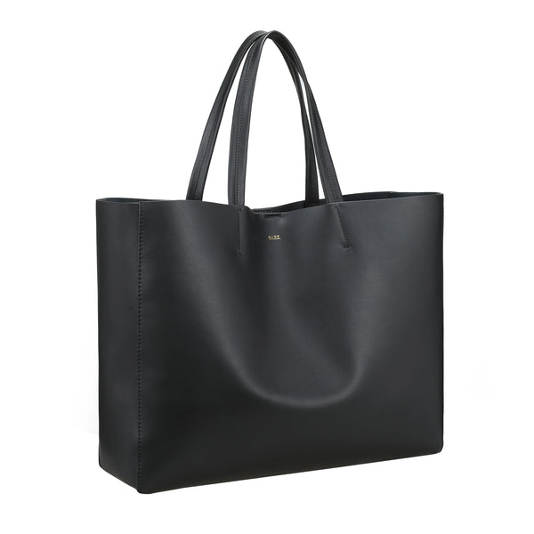LEATHER TOTE WIDE NAPPA BLACK W/GOLD