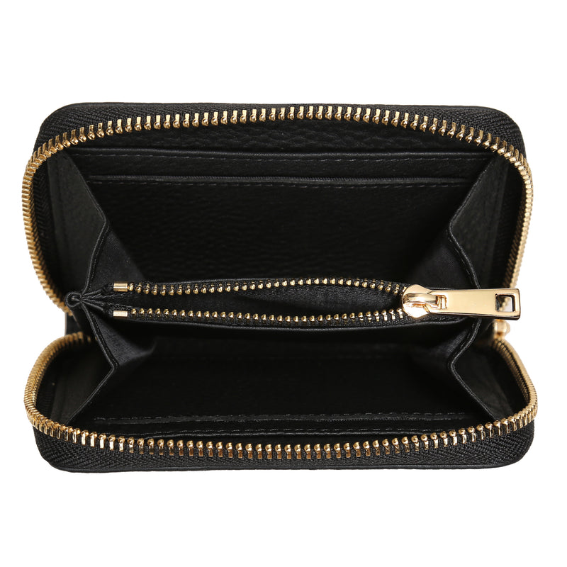 LEATHER WALLET SMALL BLACK W/GOLD