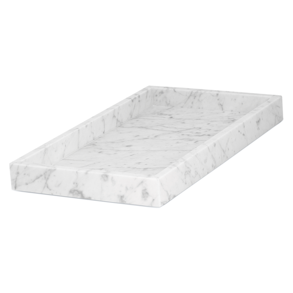WHITE MARBLE TRAY WIDE