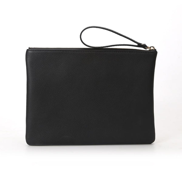 LEATHER MEDIUM POUCH BLACK W/GOLD