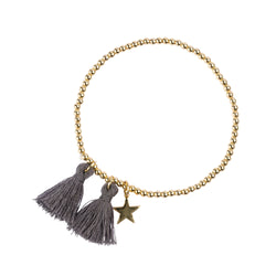 METAL BEAD BRACELET W/TASSEL DARK GREY