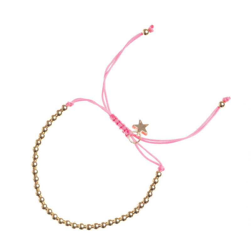 METAL BEAD BRACELET BROAD PALE PINK