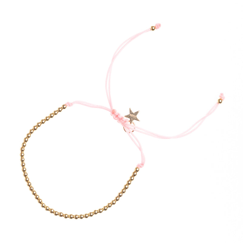 METAL BEAD BRACELET THIN BLUSH ROSE