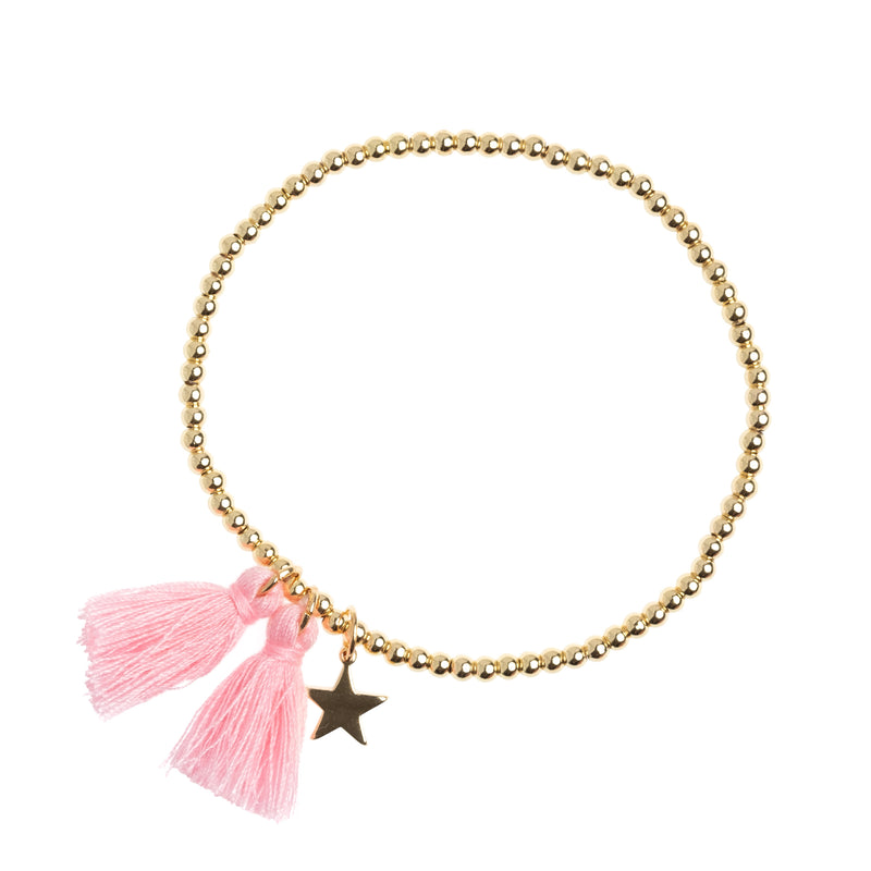 METAL BEAD BRACELET W/TASSEL BLUSH ROSE