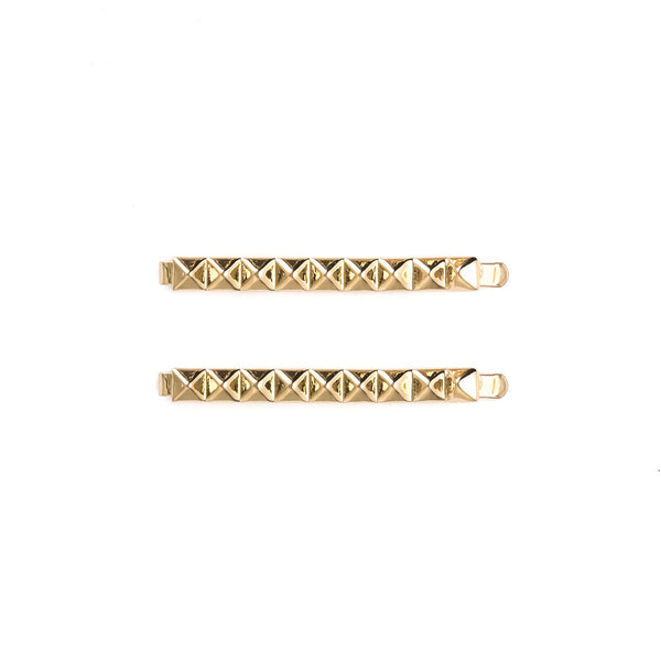 METAL STUD BOBBY PINS 2 PK GOLD