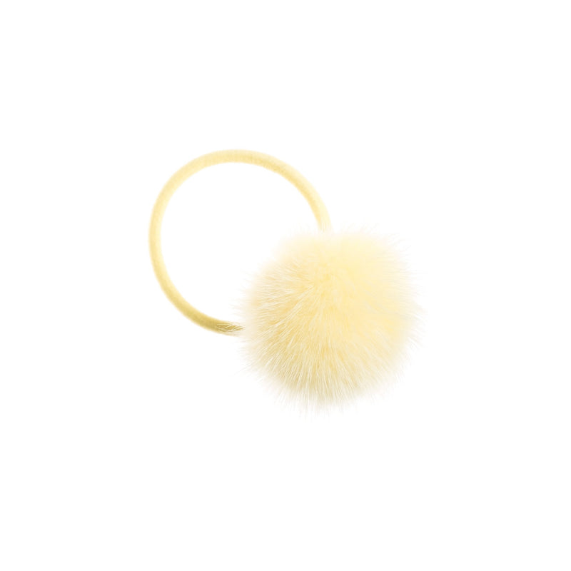 MINK HAIR POM PALE YELLOW