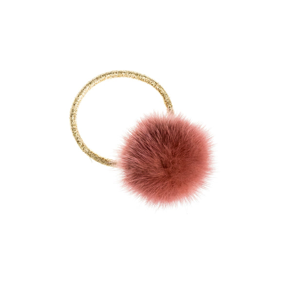 MINK HAIR POM ANTIQUE ROSE