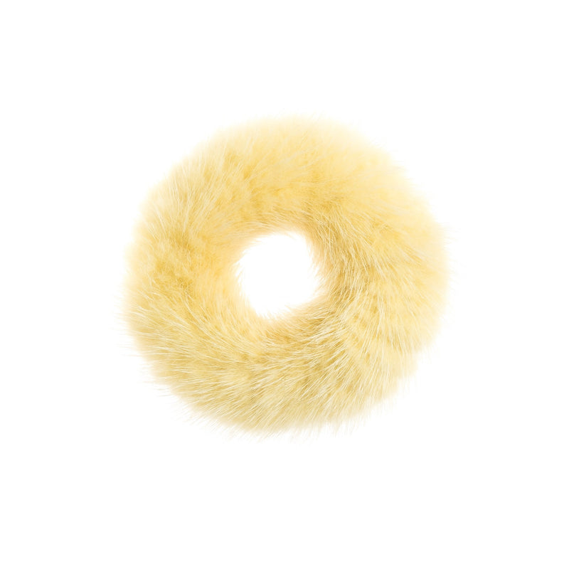 MINK HAIR TIE PALE YELLOW