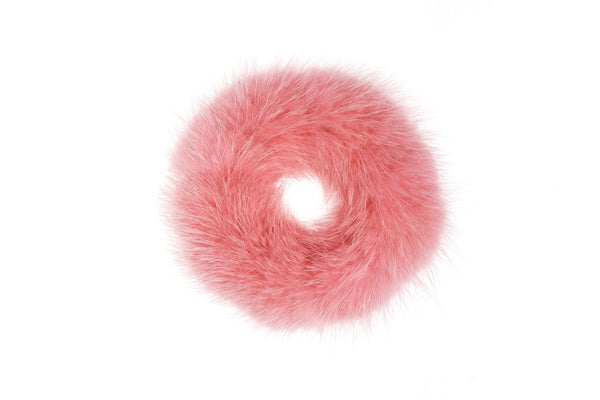 MINK HAIR TIE LIGHT CANDY PINK