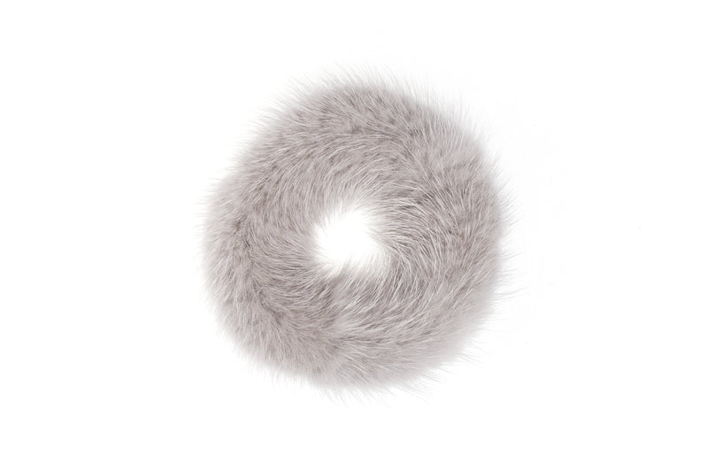MINK HAIR TIE LIGHT GREY