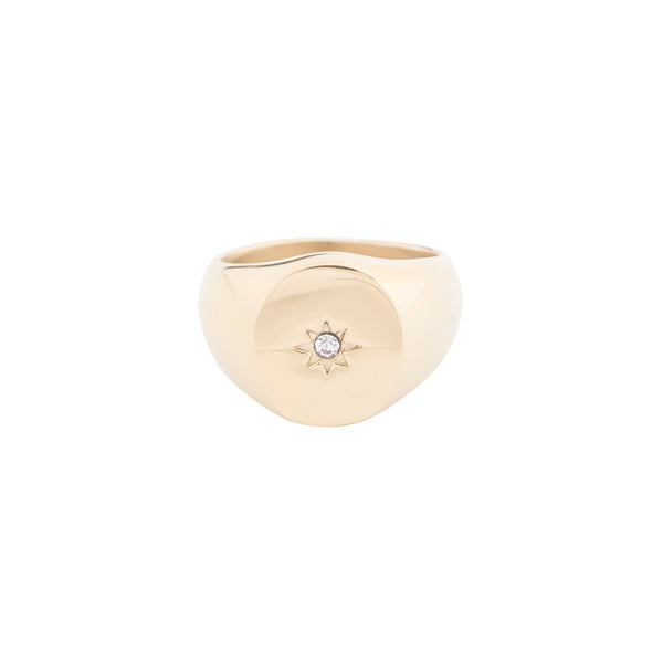 OVAL SIGNET RING W/CRYSTAL GOLD