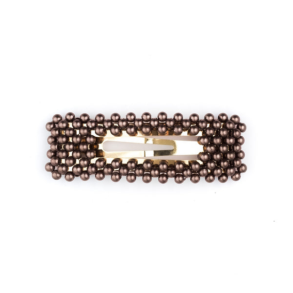 PEARL HAIR CLIP SQUARE CHOCOLATE BROWN