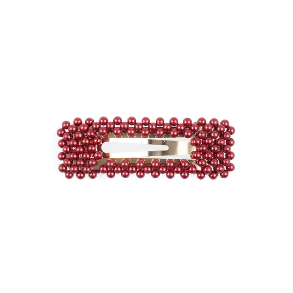 PEARL HAIR CLIP SQUARE OX RED