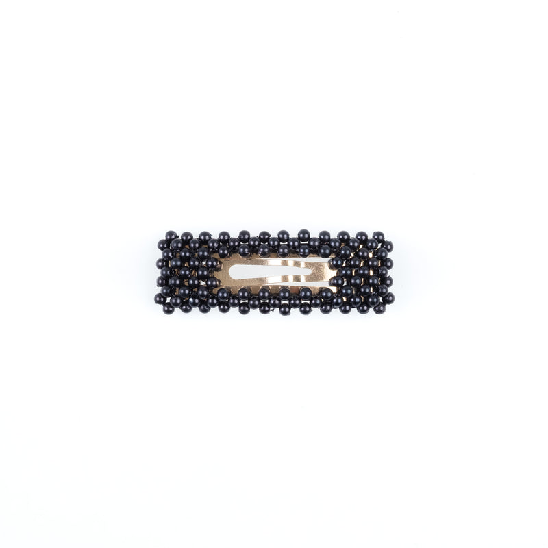 PEARL HAIR CLIP SQUARE SMALL NAVY BLUE