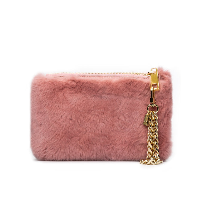 RABBIT FUR POUCH ANTIQUE ROSE
