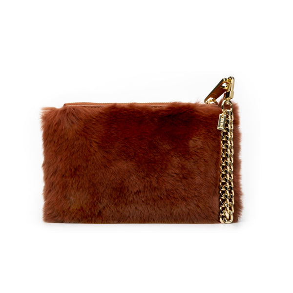 RABBIT FUR POUCH COPPER