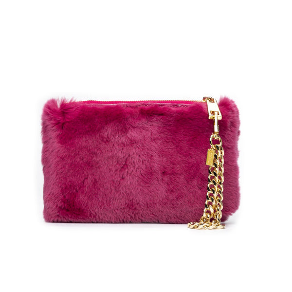 RABBIT FUR POUCH WILDBERRY