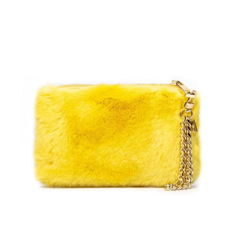 RABBIT FUR POUCH YELLOW
