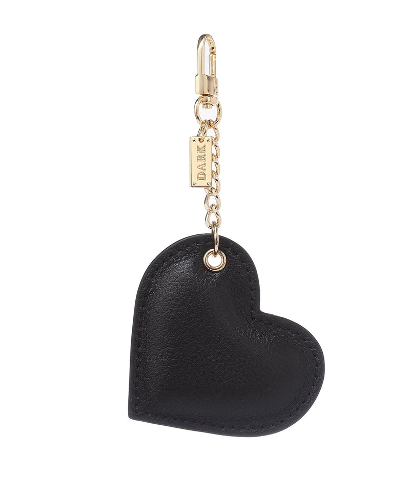LEATHER HEART CHARM CHOCOLATE BROWN