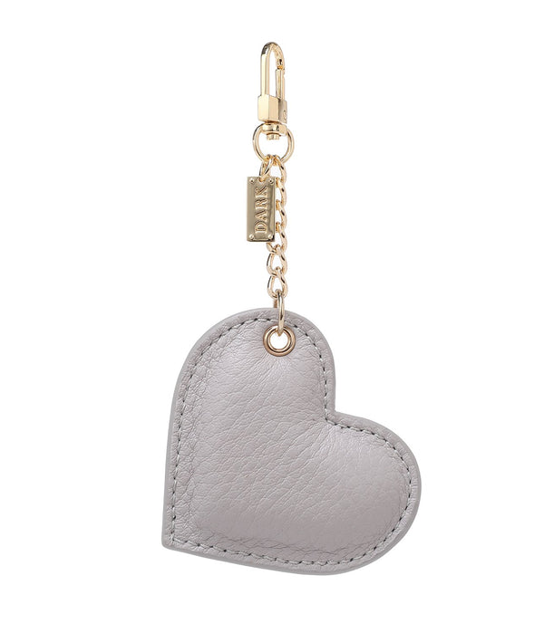 LEATHER HEART CHARM LIGHT GREY
