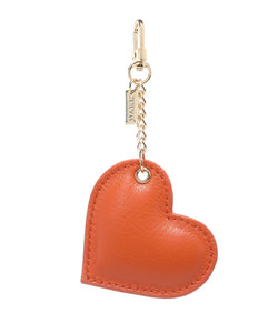 LEATHER HEART CHARM ORANGE
