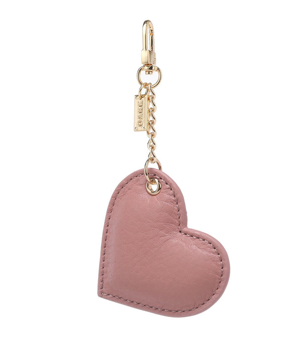 LEATHER HEART CHARM ROSE